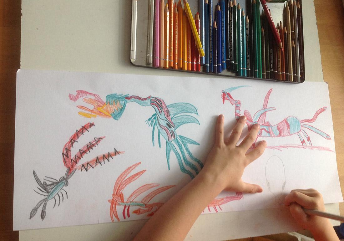 Kunst Therapie Atelier | Kinderzeichnung von Drachen | A. Tanja Stögermair