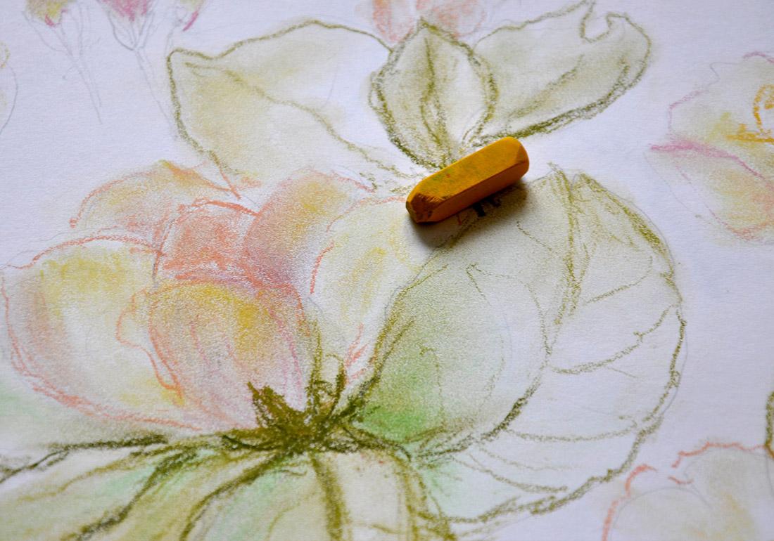Kunst Therapie Atelier | Apfelblüte in Kreide | A. Tanja Stögermair