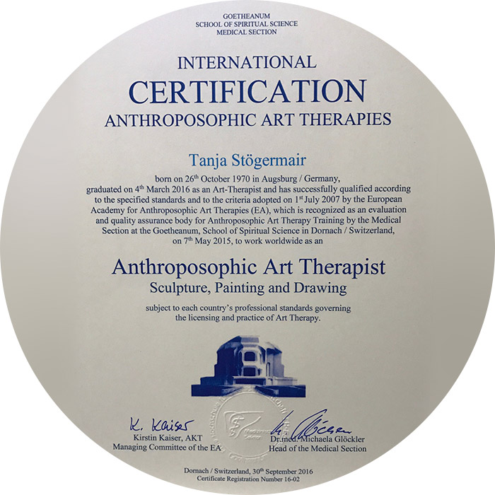Kunst Therapie Atelier | Zertifikat | A. Tanja Stögermair