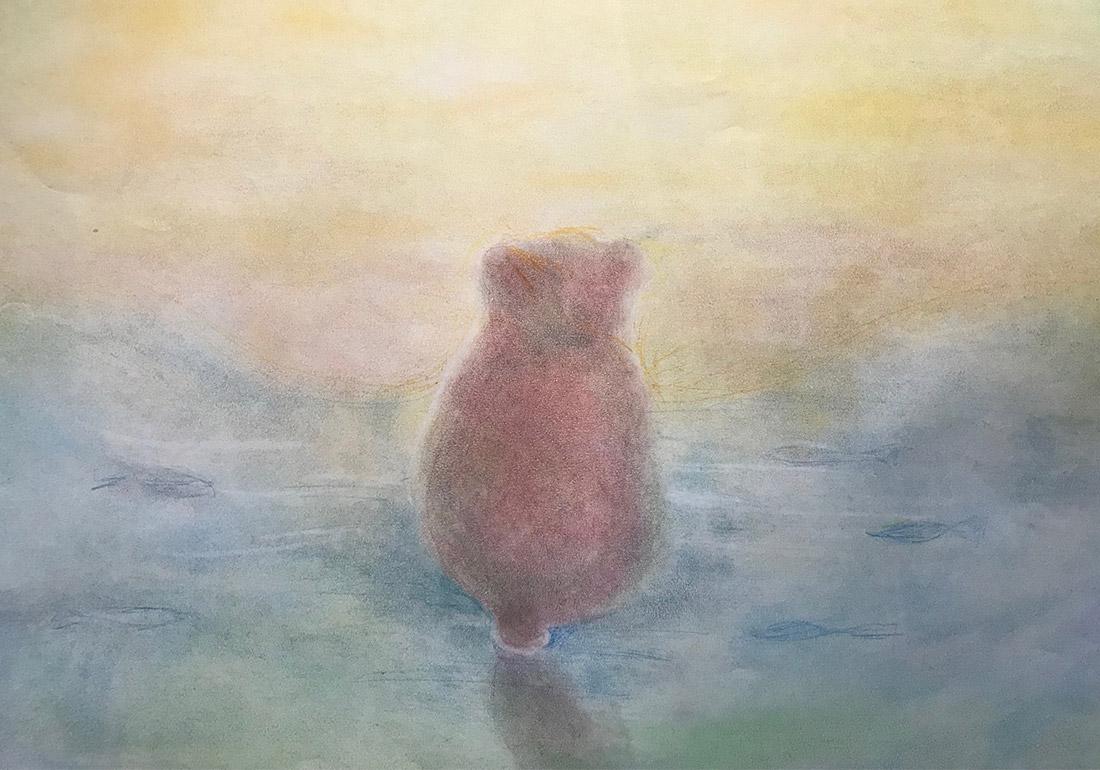 Fabel über den Bär und den Fuchs - Kreidebild